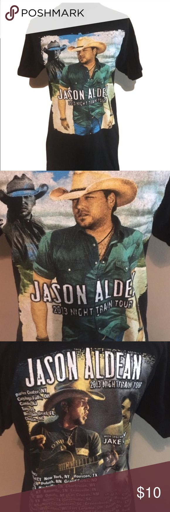 Jason Aldean 2013 night train tour band tee medium Jason Aldean tour tee shirt. No size tag. 19 arm to arm and 29 shoulder to hem. Listing as medium. Check your measurements. It may fit smaller or larger. Unisex band tee Tops Tees - Short Sleeve