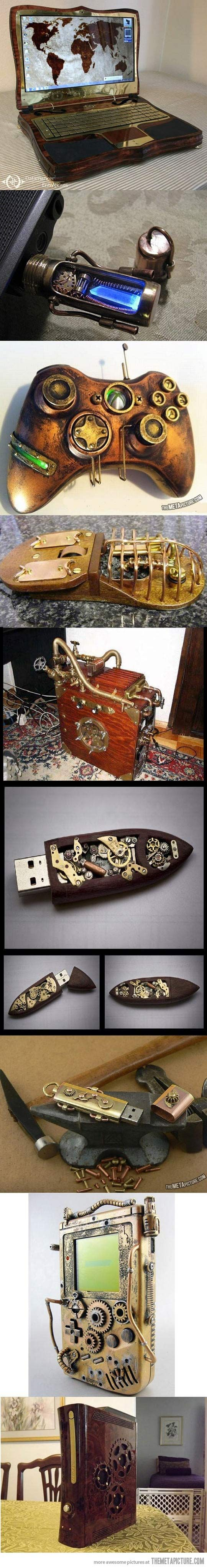 Steampunk gadgets really complete the look. Why not have fantastic objects of science and magic nestled into alcoves and amongst antique books?