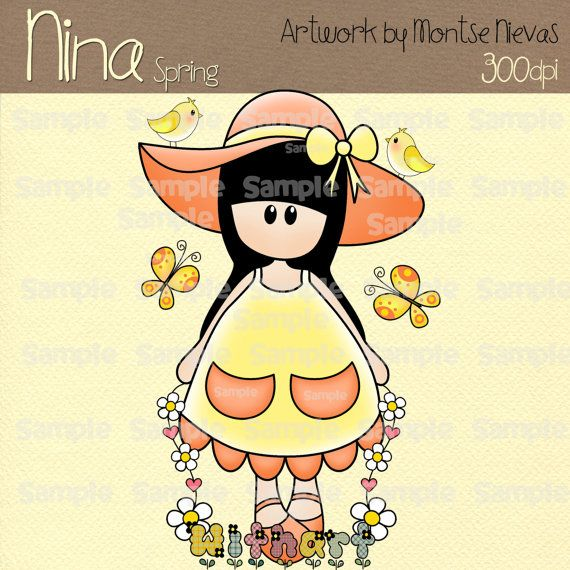 Spring Nina dolls 0267 digital clip art set images for by Withart, $2.99