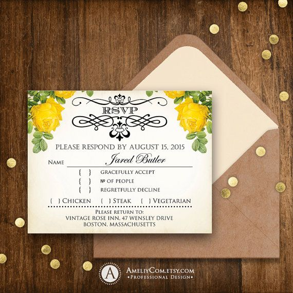 Printable RSVP Card Rustic Yellow Roses Instant Download Vintage Reply Card Template EDITABLE DIY Wedding Response Cards + Back PostCard