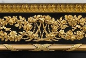 This secretary and its companion commode (MMA, 20.155.12) stood in Marie Antoinette's private apartment at the château de Saint-Cloud; her initials appear three times in the gilt-bronze frieze under the marble top. The opulent refinement of this secretary, made about 1784 by Riesener, responds to the taste of his royal client. Cascading down the front are exquisitely chased gilt-bronze flowers, while fruit, wheat, flowers, and symbols of princely glory spill from the cornucopia mounts along…
