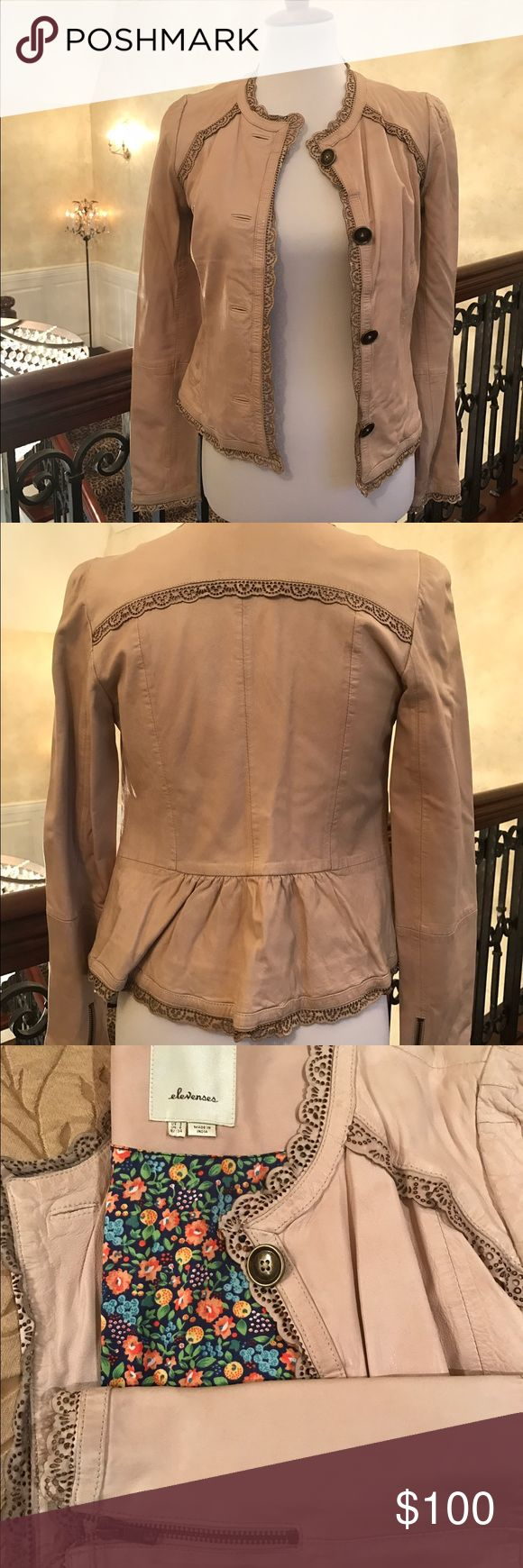 Anthropology Elevenses Tan Leather Jacket Tan leather jacket with peplum outlined with a delicate scalloped end. Zippers on the arms. Originally paid 125.00 for this. I only wore it once. Anthropologie Jackets & Coats