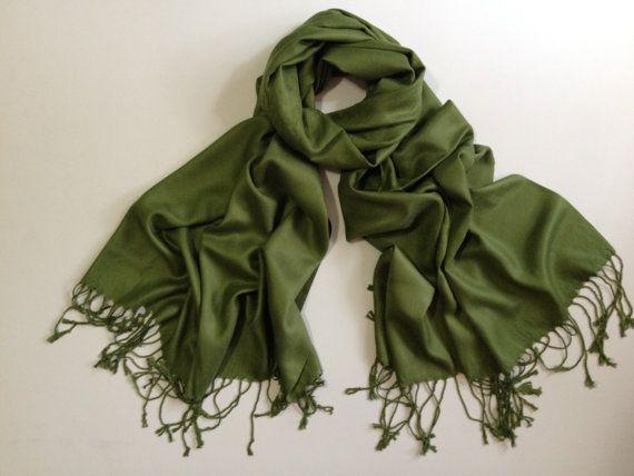SALE olive green pashmina scarf olive green pashmina by FashPash