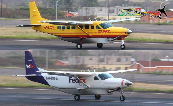 Double Cessna 208 Caravan Action !!!! DHL and FedEx @ St Kitts R.L.B Int'l Airport - YouTube