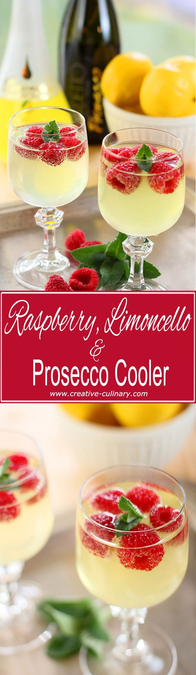 This Raspberry, Limoncello and Prosecco Cooler is a simple and lovely cocktail featuring Limoncello, frozen raspberries, and Italian sparkling wine.