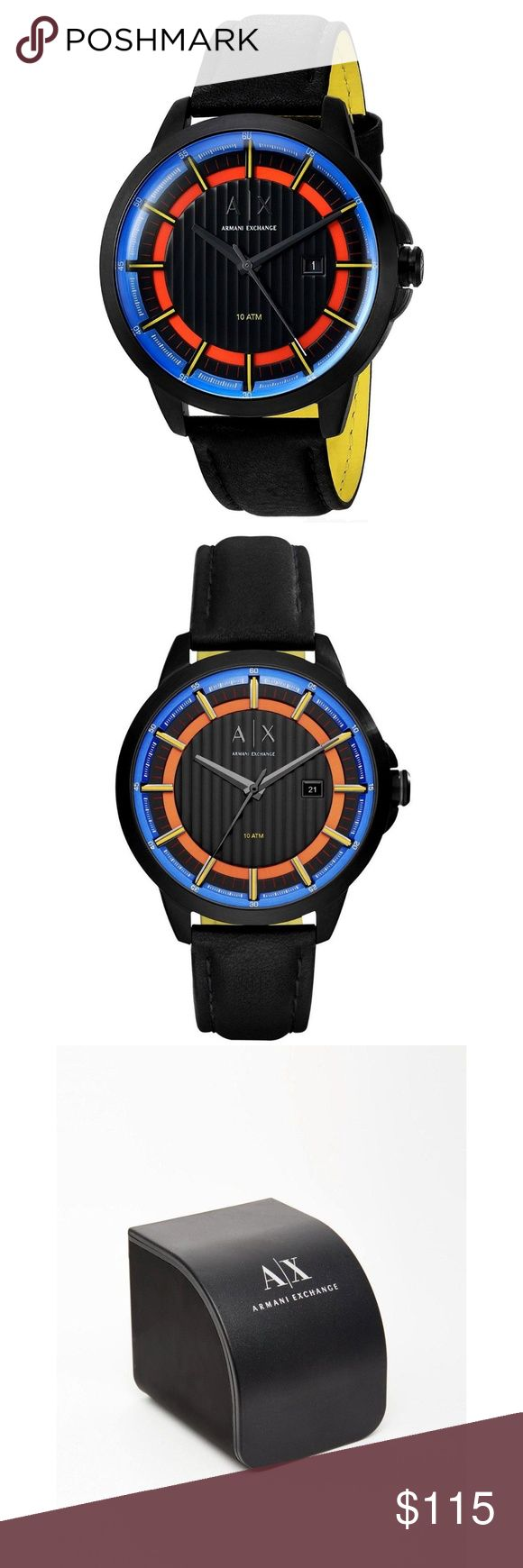 NWT Armani Exchange Men's Black Leather Watch 100% Authentic Armani Exchange!  Buy with confidence!  • MSRP: $160.00 • Style: AX2265  Description: With sleek orange-and-blue details, a textured dial, a date window, and a black leather strap, this black IP Armani Exchange watch doesn't follow trends, it sets them.  Features:  • Case Size: 44 mm • Case Thickness: 13 mm • Band Width: 18 mm • Water Resistant: 5 ATM • Warranty: 2 Year International • Yellow on back of the strap • Origin: Imported…