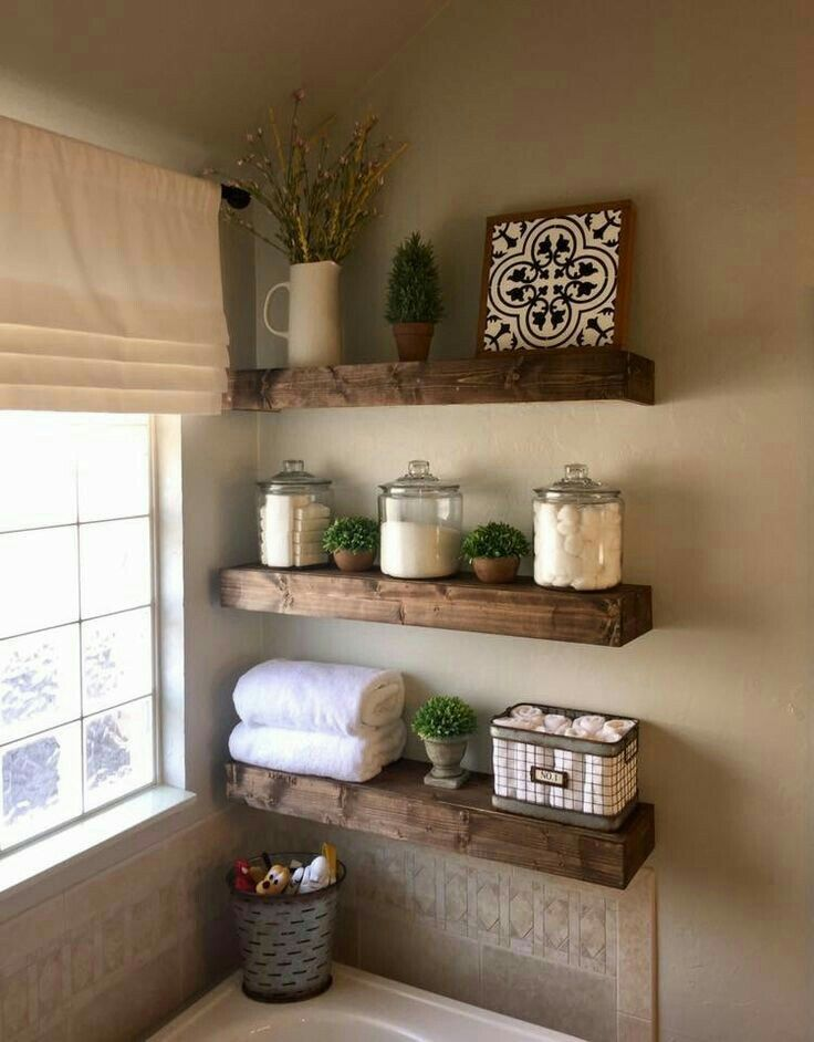These shelves!!! Cute over bathtub and all throughout the house – Wohnung neu Ideen