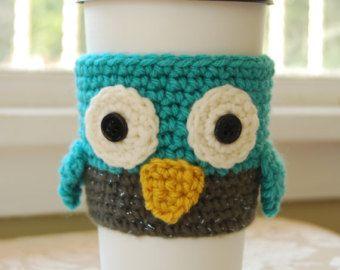 Chouette café cosy, cosy de café cosy hibou au crochet Crochet, Owl Cozies, cosy de hibou au Crochet, animaux coupe Cozies, bonneterie Cozies animales
