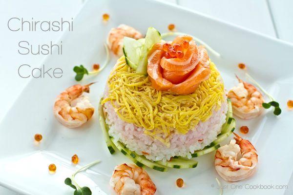 Chirashi Sushi Cake and Temari Sushi ちらし寿司ケーキと手まり寿司