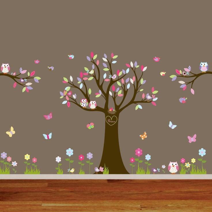 Nursery Playroom Owl Tree Bird Vinyl Wall Art Decals Mural flowers butterflies. $250.00, via Etsy.