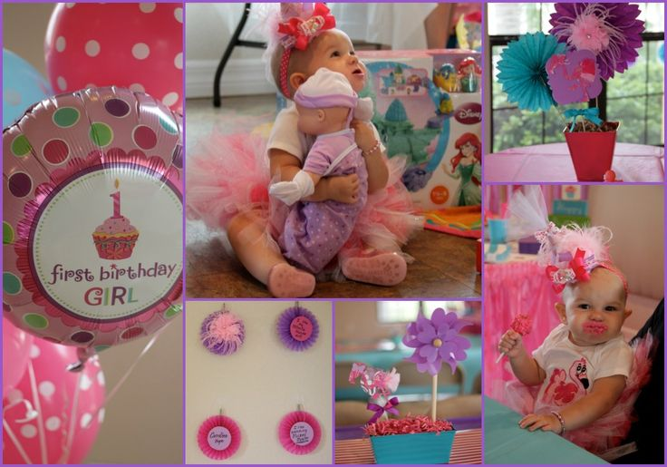 Flamingo themed 1st birthday!  *Birthday hat headband handmade https://www.etsy.com/shop/sandcastlearts * Balloons from party city  http://www.partycity.com/product/first+birthday+girl+balloons.do?navSet=169833 * tutu and onesie made by Noni :0) shoes TJ Maxx * centerpieces made with cricut, pinwheels from Hobby Lobby, tins & shredded paper ONLY $1 each at Dollar Tree! * Birthday girl wall made with tissue circles [Glued paper circles with stats and info. (i.e. height, weight, fav toy, etc)