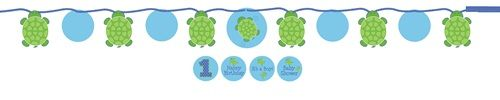 """Our Mr Turtle Ribbon Circle Banner is a great decorating accessory for your cute turtle party theme.  It measures 5.5 feet long, nicely highlights the Mr Turtle theme colors of blue and green, and features 4.5""""-wide turtles strung together with a blue satin ribbon with white polka dots.  Any of the circular cutouts between the turtle shapes can also be customized with the included """"It's a Boy!"""", """"Baby Shower"""", """"1st"""", and """"Happy Birthday"""" stickers."""