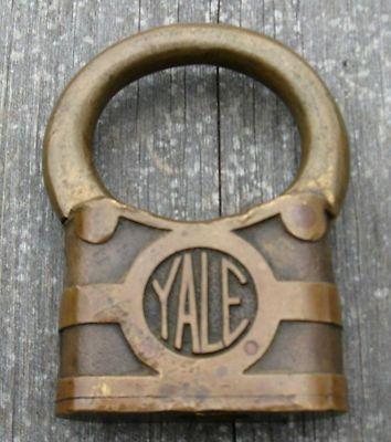 Large Antique Padlocks   Rare old antique large Yale bullring padlock lock NR Completed
