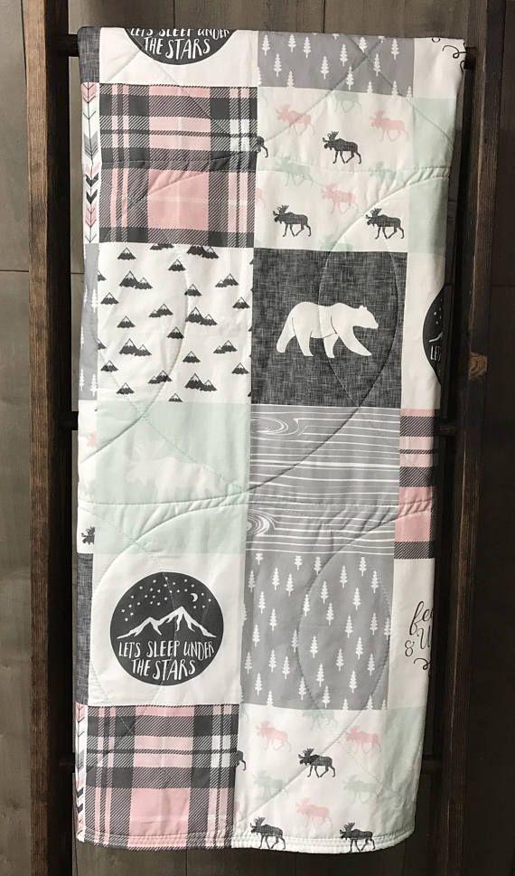 Baby Girl Quilt  Baby/Toddler Blanket  Woodland  Bears