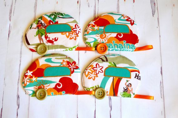Hawaii coaster set retro caravan mug rugs by RobynFayeDesigns