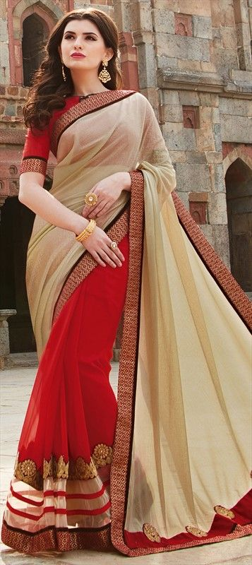 707501 Beige and Brown, Red and Maroon color family Embroidered Sarees, Party Wear Sarees in Faux Georgette, Lycra fabric with Lace, Machine Embroidery, Patch, Thread work with matching unstitched blouse.
