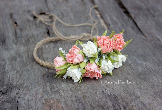 Rustic Flower Wreath/Wedding Hair от FlowersAccessorie на Etsy