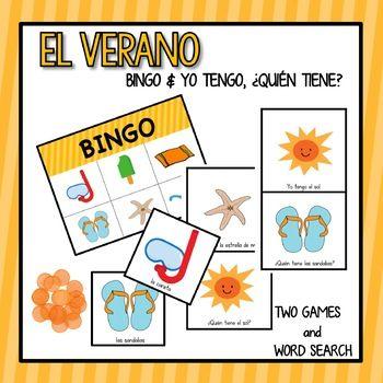 """This product includes two fun games and a word search to welcome """"el verano"""" in your classes. You will receive:1. Bingo: 12 cards & call-out cards    Vocabulary: el buzo, la pala, el sol, el cangrejo, el pez, la careta,     la pelota, la paleta, la toalla, las sandalias, el traje de bao,     la estrella de mar, los lentes de sol, el helado, el castillo de arena,     la playa, el bronceador, el flotador, la silla, la sombrilla, la concha     de caracol, el balde, el pelcano, el bote.3."""