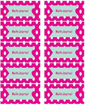 Math Journal Labels- There are 3 different styles in this variety pack: bright pink polka dots, colorful polka dots, and colorful zigzags. These Math Journal Labels...