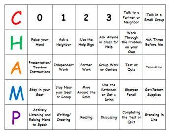 CHAMPS Behavior Expectations Classroom Management Mini Desk Chart