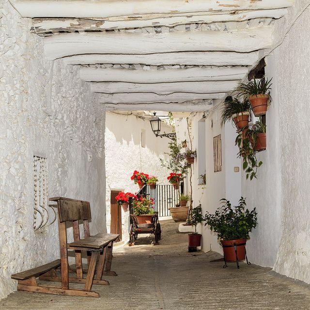 Beautiful white village called Capileria in Granada (Spain)