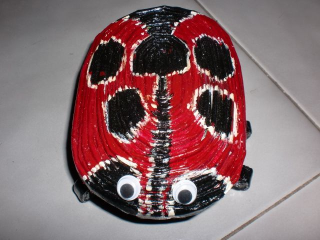 Lady bug made from coiled papers