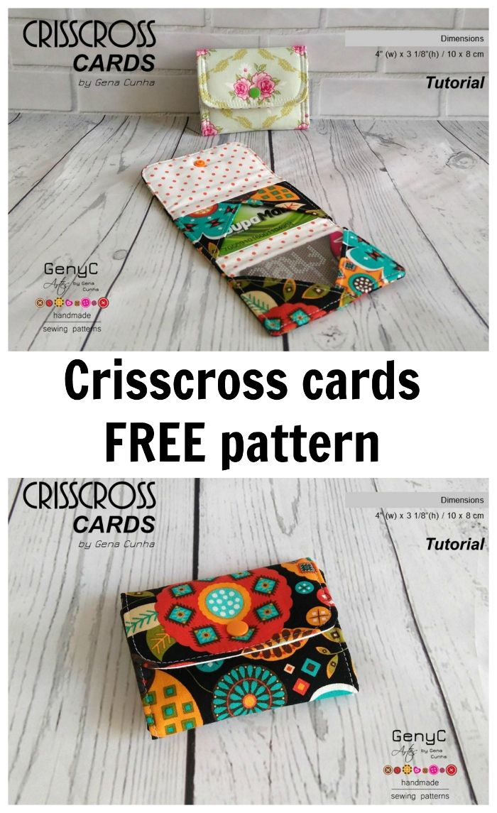 FREE pattern for the Crisscross cards small pouch, with 2 card slots.