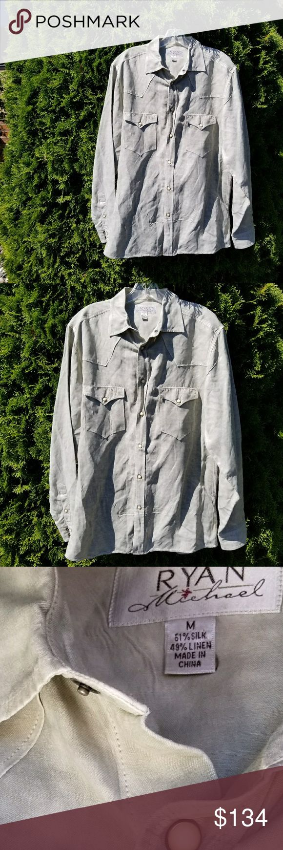 Ryan Michael Silk & Linen Pearl Snap Long Sleeve In excellent condition, palest olive green. Ryan Michael Shirts