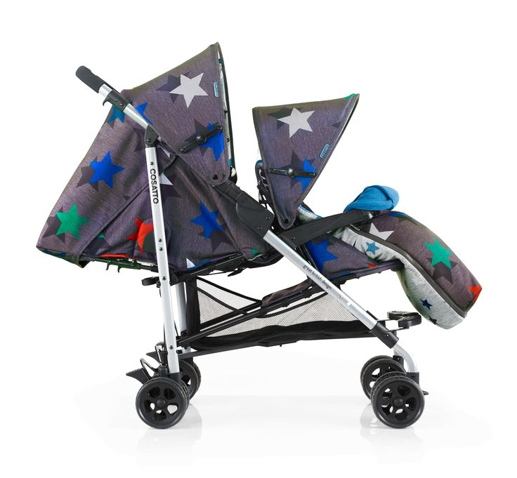 Cosatto   Shuffle   Grey Megastar. The Cosatto Shuffle in Megastar is the perfect double pushchair for your different-sized children. Inspired by sports and athleisure this compact pushchair with a star patterned print is everything a new parent needs. In stock £364.95