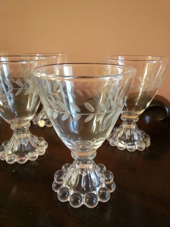 Vintage 1950 Quot S Set Of 6 Anchor Hocking Clear Etched