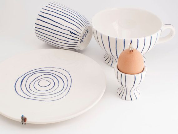 Simple, modern, minimal Scandinavian Delft blue striped hand painted earthenware ceramic breakfast set of 4 pcs tableware - MADE TO ORDER -