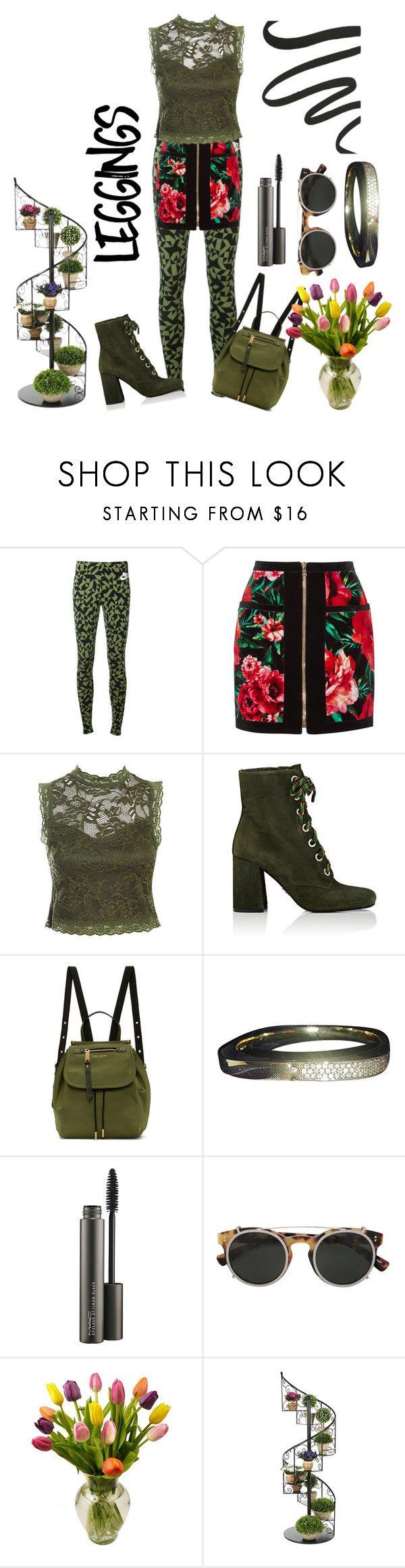 """leggings with skirt"" by priyaarun ❤ liked on Polyvore featuring NIKE, Balmain, Sans Souci, Prada, Marc Jacobs, Swarovski, MAC Cosmetics, Valentino and Laura Mercier"