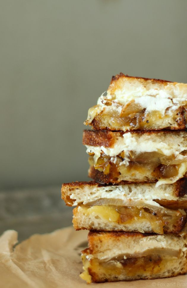Honey Roasted Pear, goat cheese and caramelized onion grilled cheese