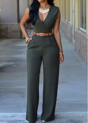 Pocket Design Sleeveless Dark Green Jumpsuit | modlily.com