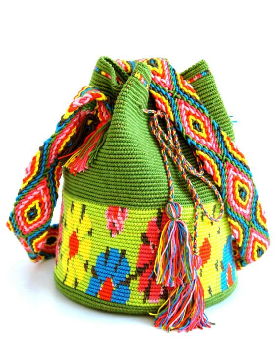 This listing is for a handmade mochila bag, custom made and crocheted using strong and durable yarn. 100% handmade and hand crocheted. Made of microfiber, a very light and strong yarn. Dimensions: - bottom diameter - 21 cm (8,267 in); - height (depth) bag - 26 cm (10,236 in); - shoulder strap - 125 cm (49,212 in); - total height (strap+bag) - approx. 81 cm (31,889 in); Weight - 400 gr.