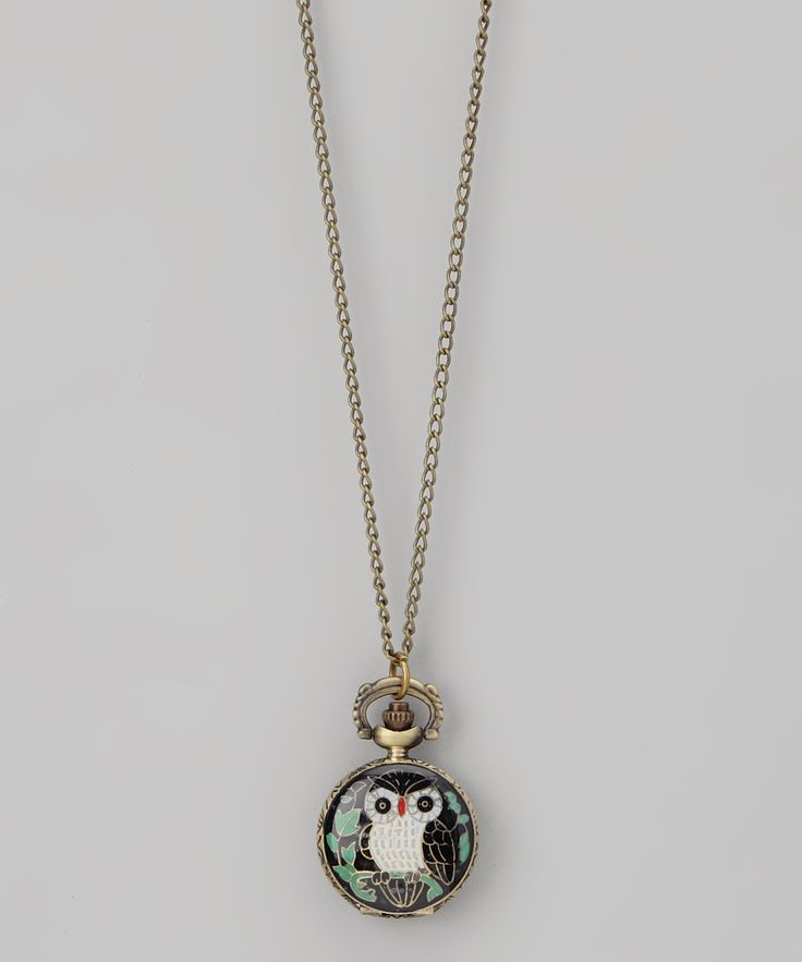 Black Owl Pocket Watch Pendant Necklace