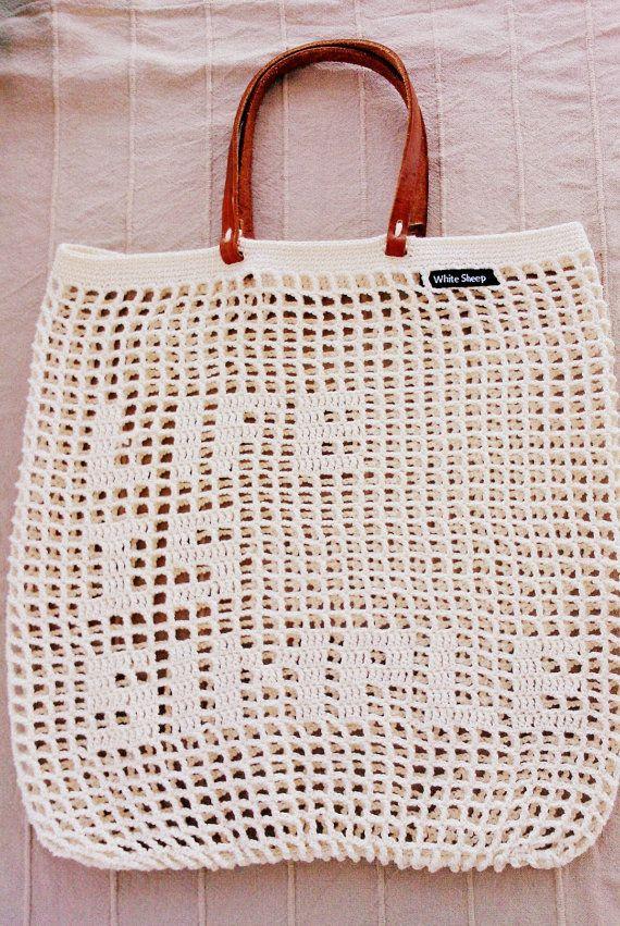 BEIGE Crochet sac d'été fait à la main en cuir par WhiteSheepShop
