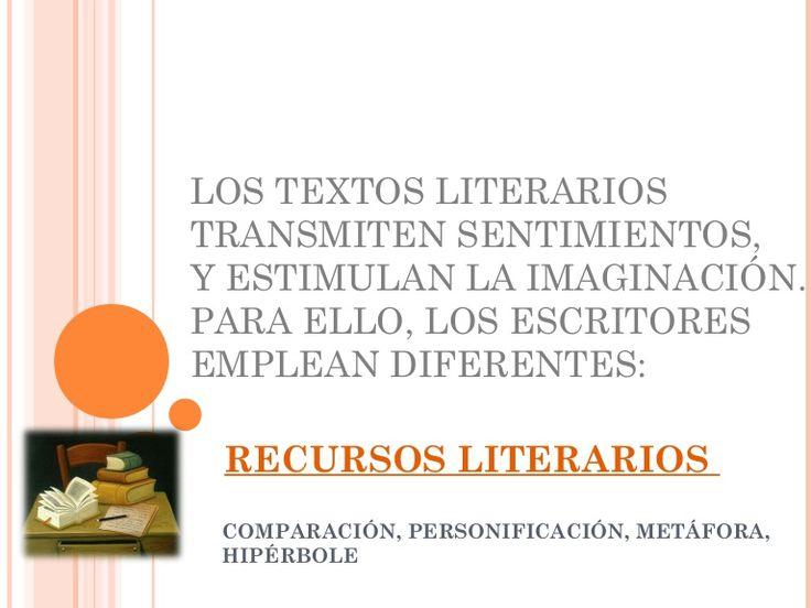 Breve descripción de algunos recursos literarios: comparación, personificación, metáfora, hipérbole.