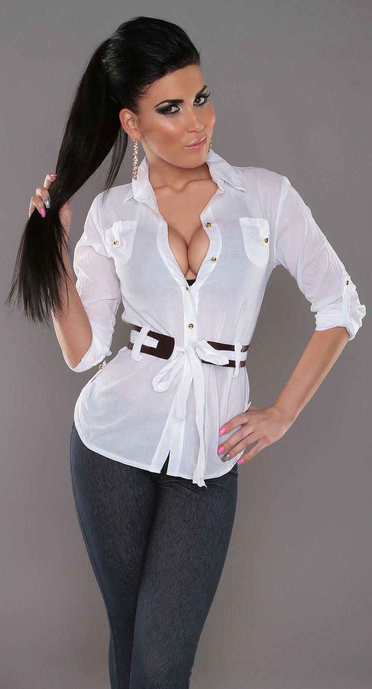 Chemise blanche avec bouton dorés