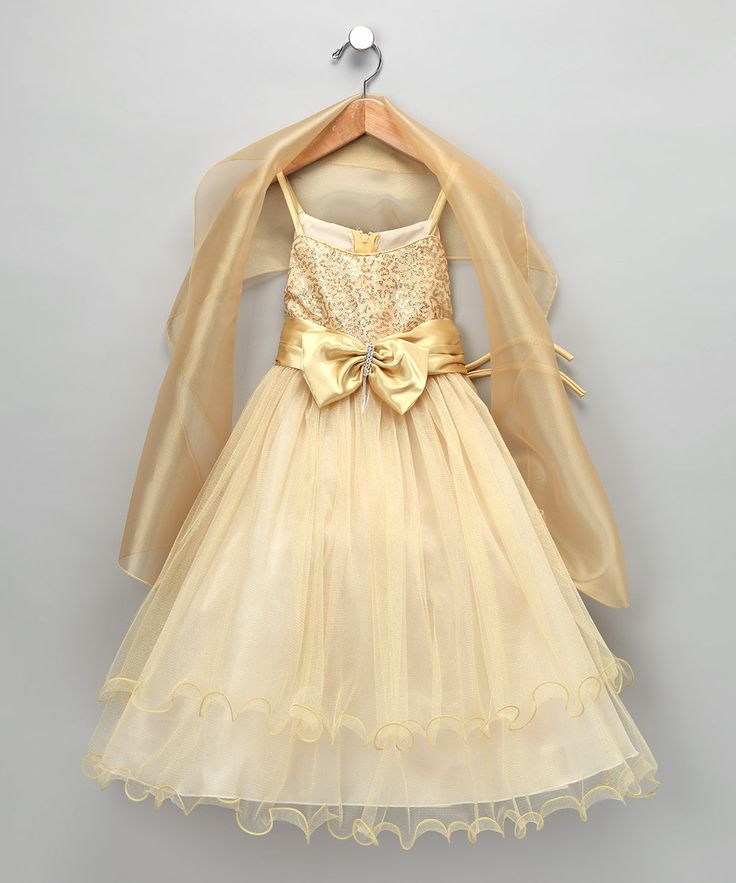 Perfect for the holidays!  Gold Bow Dress & Shawl - Toddler & Girls   #zulily and #fall
