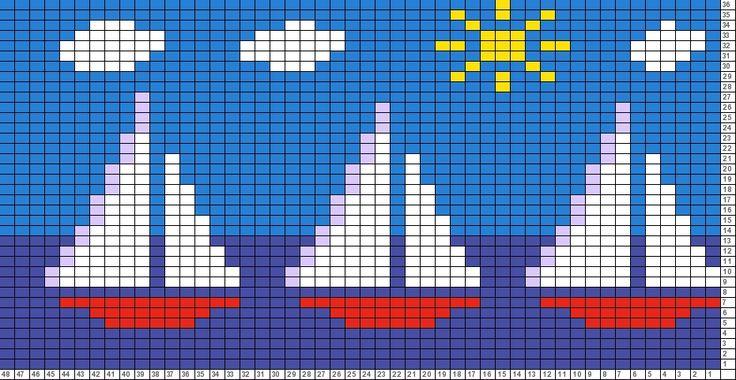 Red Sailboats motif chart