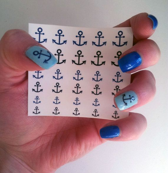 30 Nail decals in three different sizes, anchor design in two different colours (navy blue and black).    Decals come in packaging with full