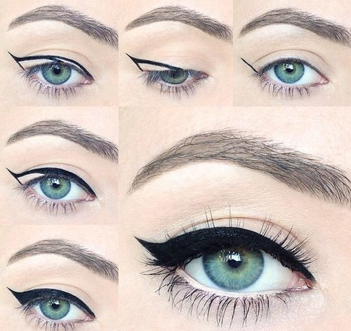 A great trick to create perfect winged eye liner!