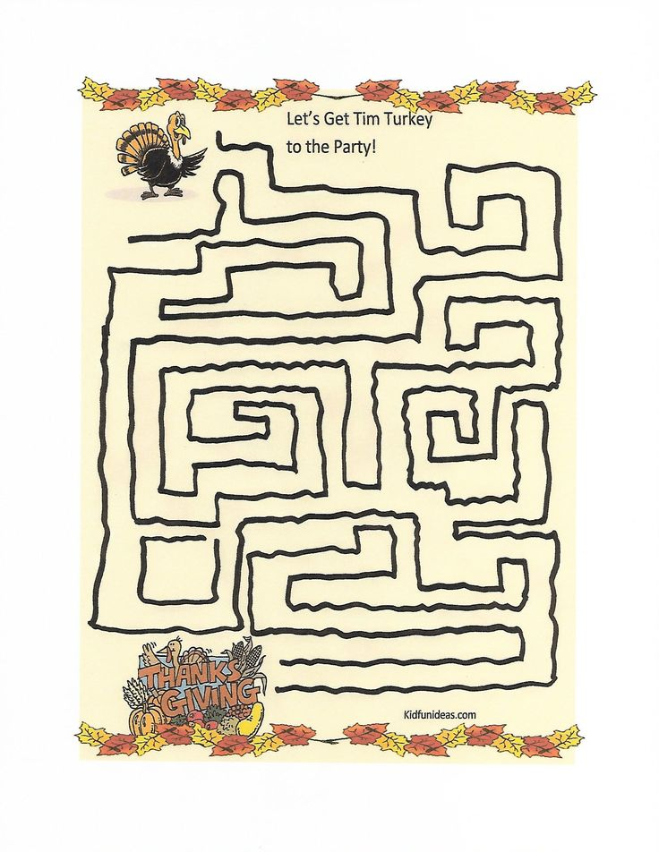 Kidfunideas.com Thanksgiving turkey maze activity for kids ...