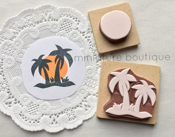 Palm trees  Beach  Sunset rubber stamps 2 by miniatureboutique
