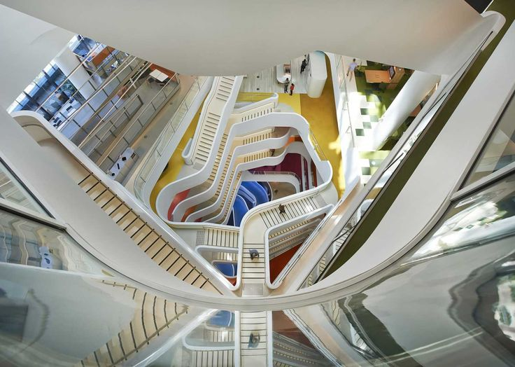 Medibank Melbourne HQ stairs colour by HASSELL | Yellowtrace