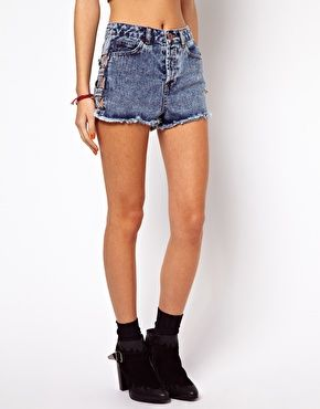 ASOS High Waist Denim Shorts in Acid Wash with Side Lattice Detail