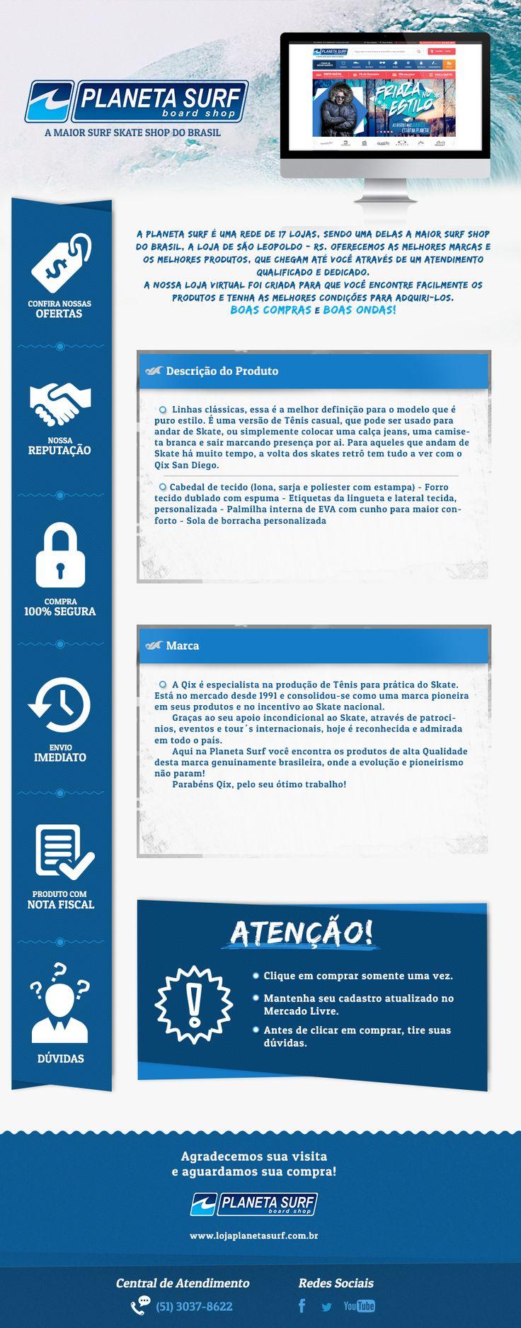Template de descrição de produto, do Mercado Livre, desenvolvido para o cliente Planeta Surf.  Splashbox desenvolvida para a loja virtual do cliente Sul Games.  Direção de Arte: ALEXANDRE R. Agência: TRINTO