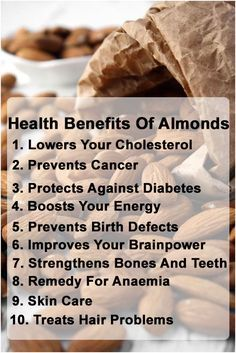 10 Amazing Health Benefits Of Almonds: The National Cancer Institute freshly released a study involving high-fiber diets that lower risk of colon cancer. It's also an excellent reserve of vitamin E, Phytochemicals, and flavonoids which controls the progress of breast cancer cells.