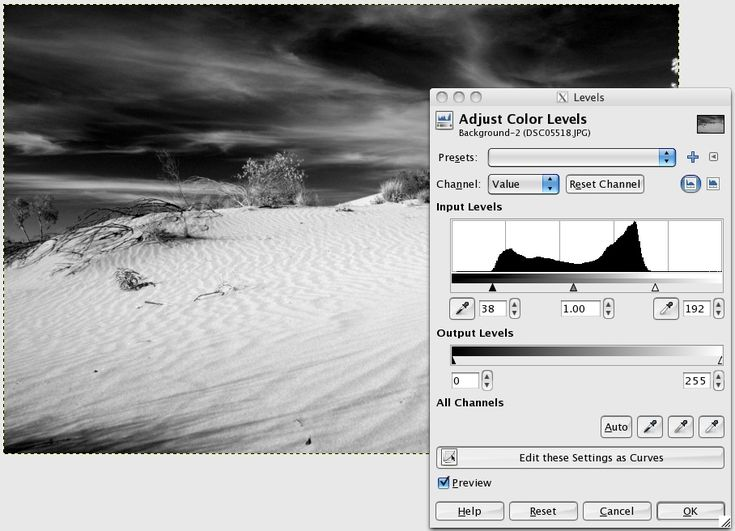 how to make black and white in gimp